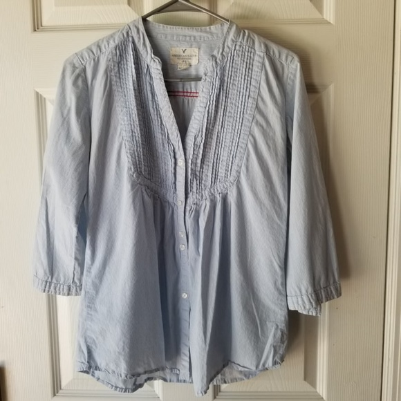 American Eagle Outfitters Tops - American Eagle Blue Striped Blouse Size 6 Casual